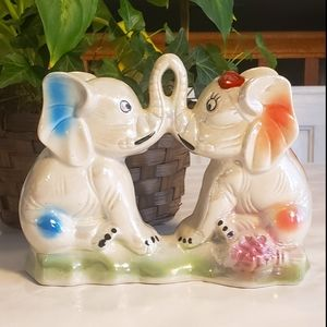 Vintage Elephants in Love Figurine